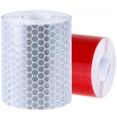 Reflecterende Tape klasse I:  1 x rood + 1 x wit (3cm x 500cm)