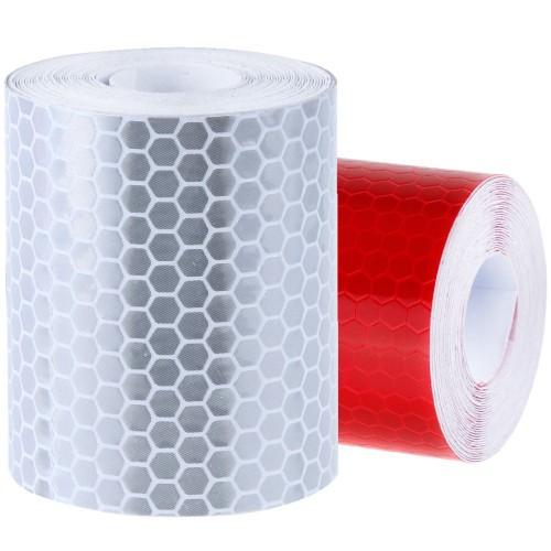 Reflecterende Tape klasse I:  1 x rood + 1 x wit (5cm x 300cm)